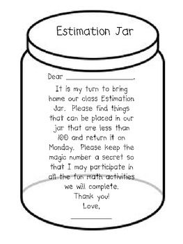 Here are different versions of a letter asking students to supply the class estimation jar for the week.