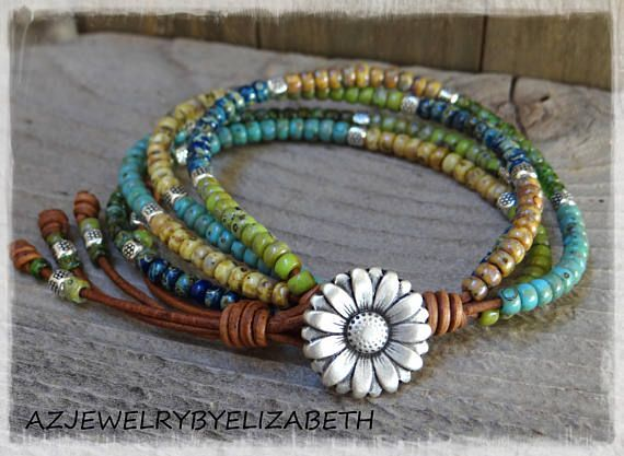 Beaded Leather Wrap/ Boho Seed Bead Bracelet/ Leather Wrap