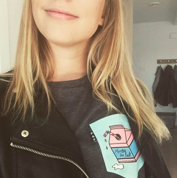 Women's clothing・Pocket tee・Milk・Pattern・Funny・Montreal ❖ Vêtements pour femmes・Col rond・Chandail à poche・Montée de lait・Motifs・Montréal