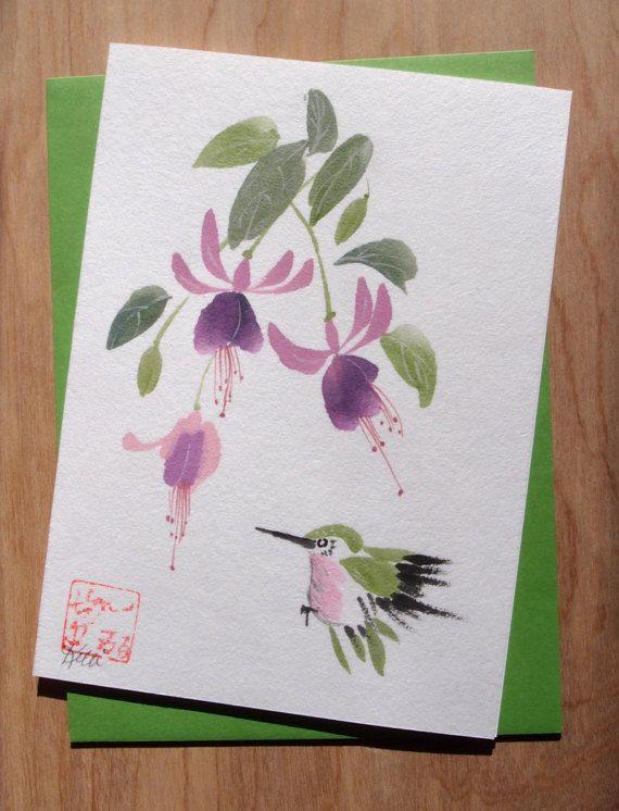 Original Chinese Brush Sumi-e Greeting Card  by KelliMcNicholsArt