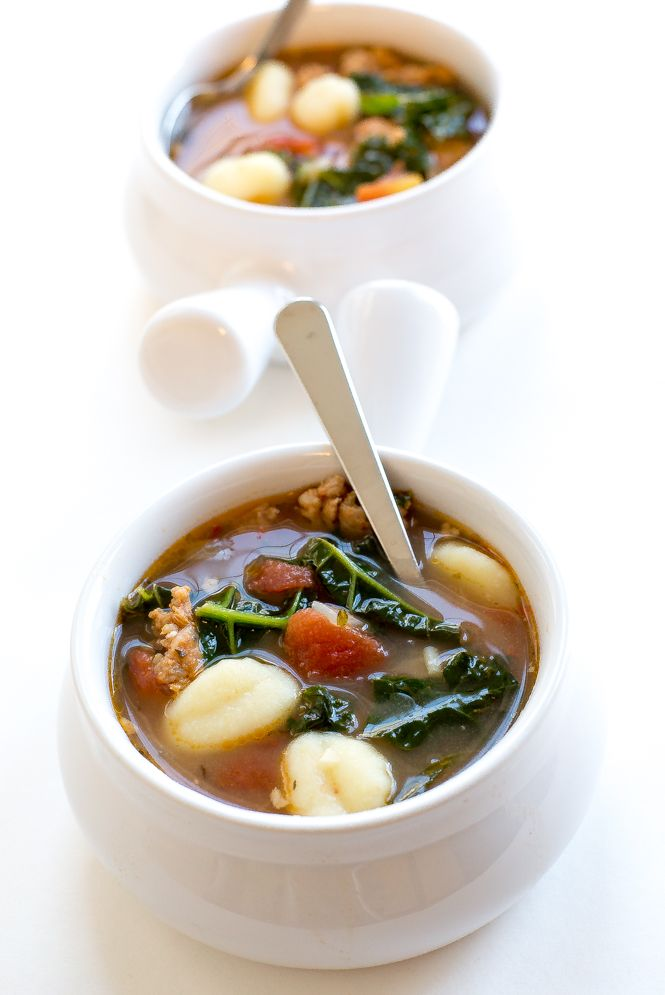 Easy Italian Gnocchi Soup made with Kale and Spicy Sausage. A super flavorful soup that takes less than 30 minutes to make!