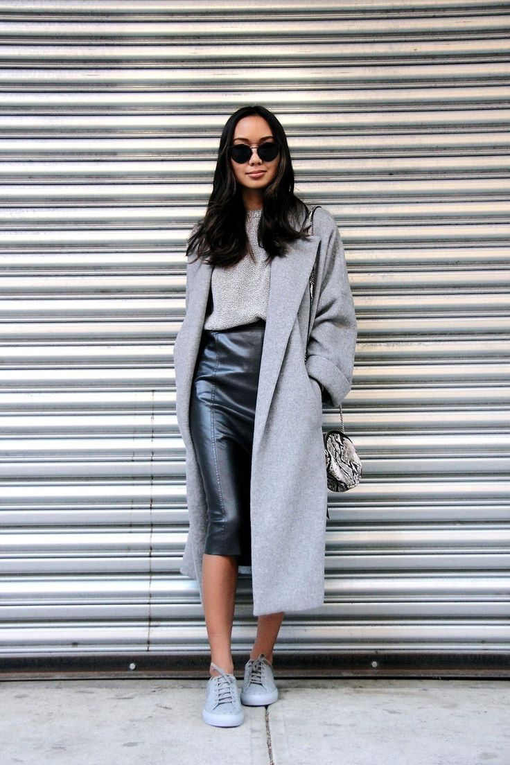 Bloglovin Blog Round Cat Eye Sunglasses Grey Overcoat Textured Sweater Python Round Bag Leather Pencil Skirt Gray Sneakers Blogger Style Via Linh Niller