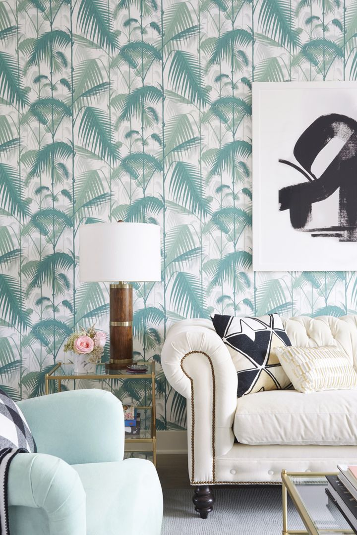 Bright feminine living room makeover gorgeous wallpaper for Bright wallpaper for living room