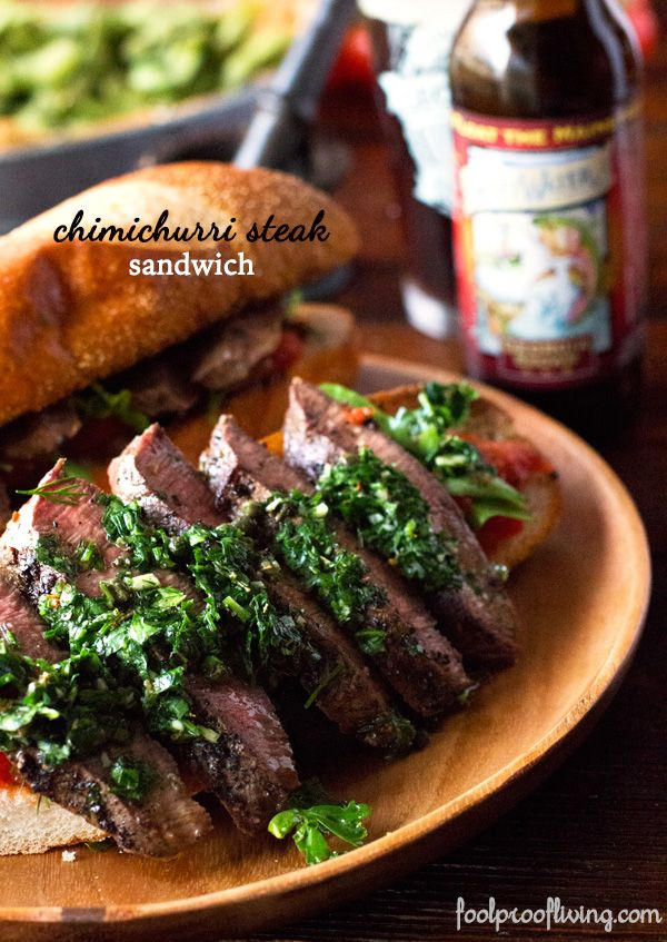 sandwich recipe made with pan-seared flank steak and garlicky ...