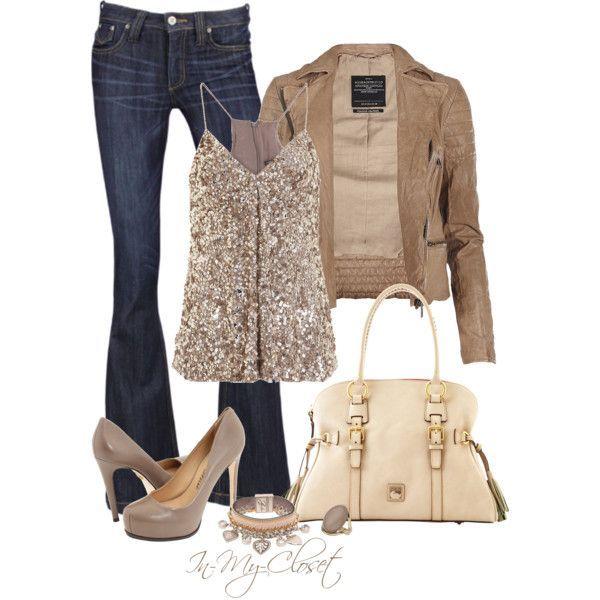 Metallic/gold top, neutral jacket, denim pants, neutral pumps, jeans, gorgeous bag