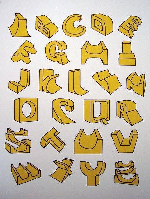 Cool skate ramp alphabet print!