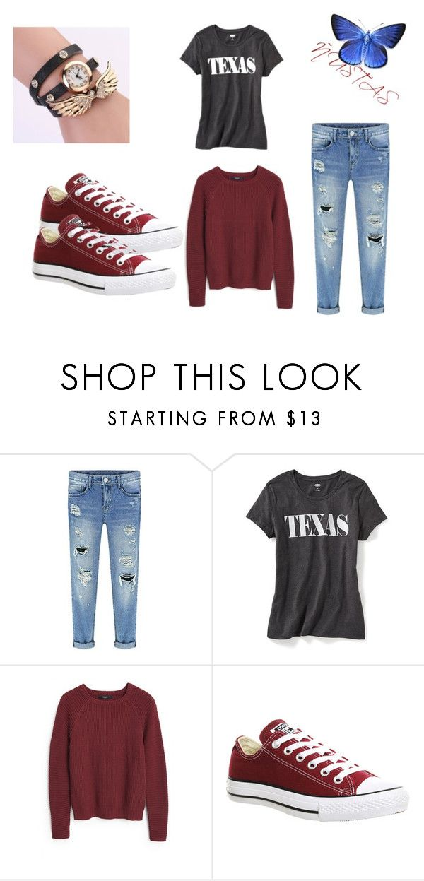 """*.*"" by yanina-9-11 ❤ liked on Polyvore featuring Old Navy, MANGO and Converse"