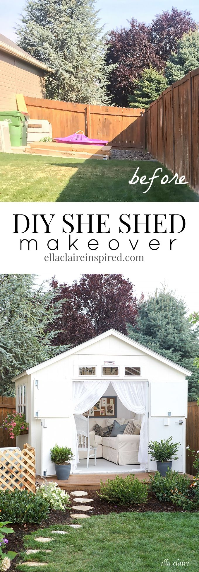 DIY She Shed makeover filled with charm and vintage inspired loveliness.