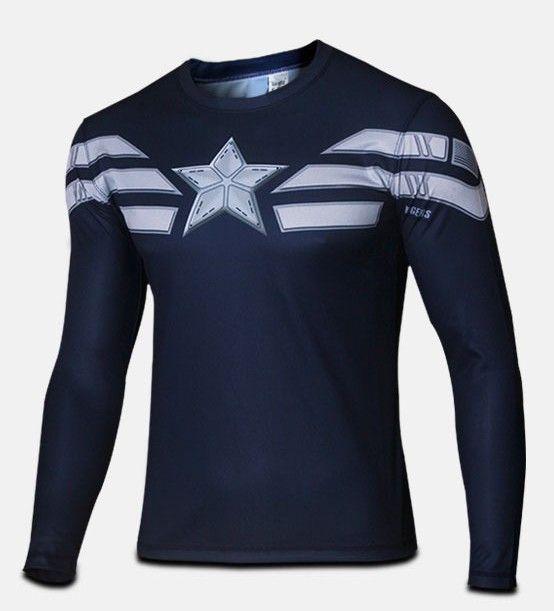 2016 Marvel Avengers Captain America 2 winter soldier deadpool Costume 3d Superhero T shirt Men Long sleeves Sport tshirt homme