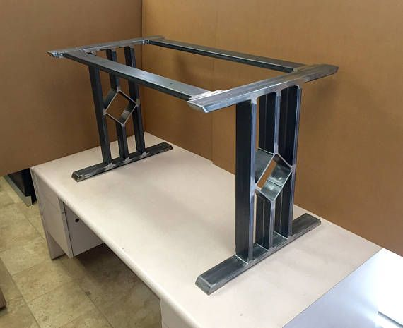 Design Dining Table Base Three Bars With Middle Square And 2