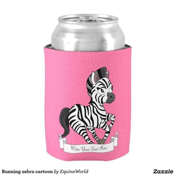 Running zebra cartoon can cooler