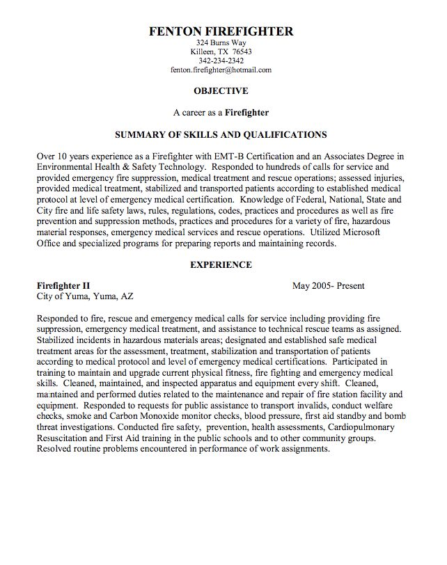 Firefighter Resume Objective Examples  Examples Of Resumes
