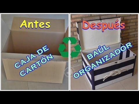Cómo reciclar una caja de cartón en un baúl organizador | Manualidades                                                                                                                                                                                 Más