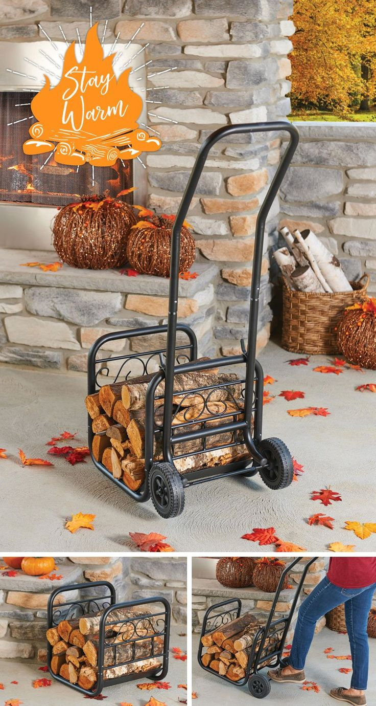 Got a fireplace? Store your firewood on a firewood rack. This one has wheels so that you can easily gather and bring in more firewood.