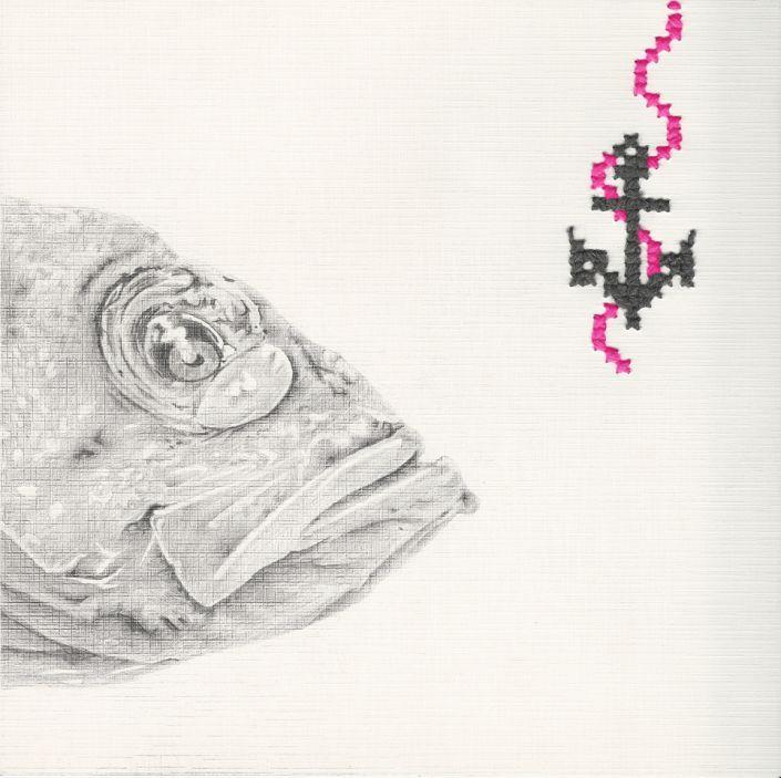 Alexandra Irlacher: Fisch.  #Stickerei und #Zeichnung auf reinweißem Strukturkarton. #Anker #Angelhaken #knitart #Kreuzstich #Fisch #Angel  #alexandrairlacher #Bleistift #Graphit #startyourart www.startyourart.de