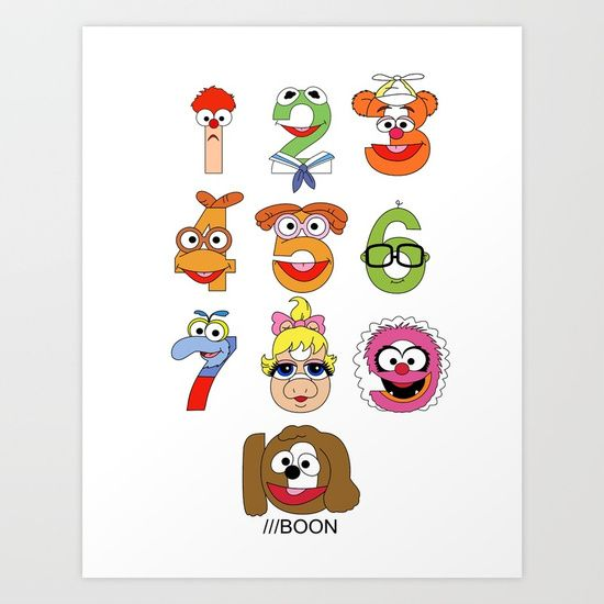 Muppet Babies Numbers Art Print by Mike Boon. Worldwide shipping available at Society6.com. Just one of millions of high quality products available.