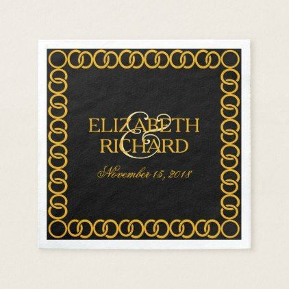 Gold Wedding Rings Monogram Initials Black Paper Napkin - wedding decor marriage design diy cyo party idea