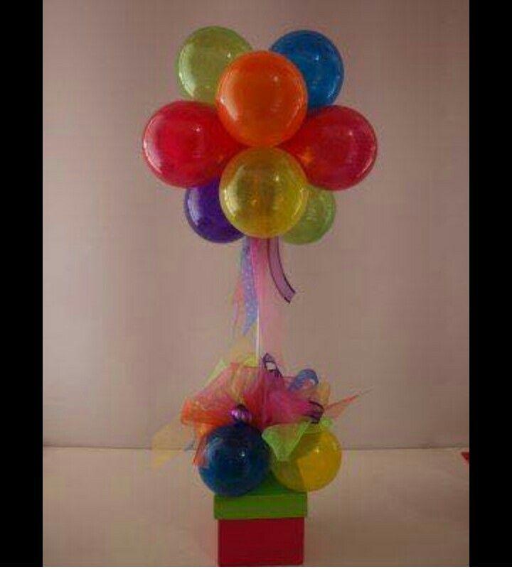 centro de mesa regalo premio caja con globos para fiesta de nio