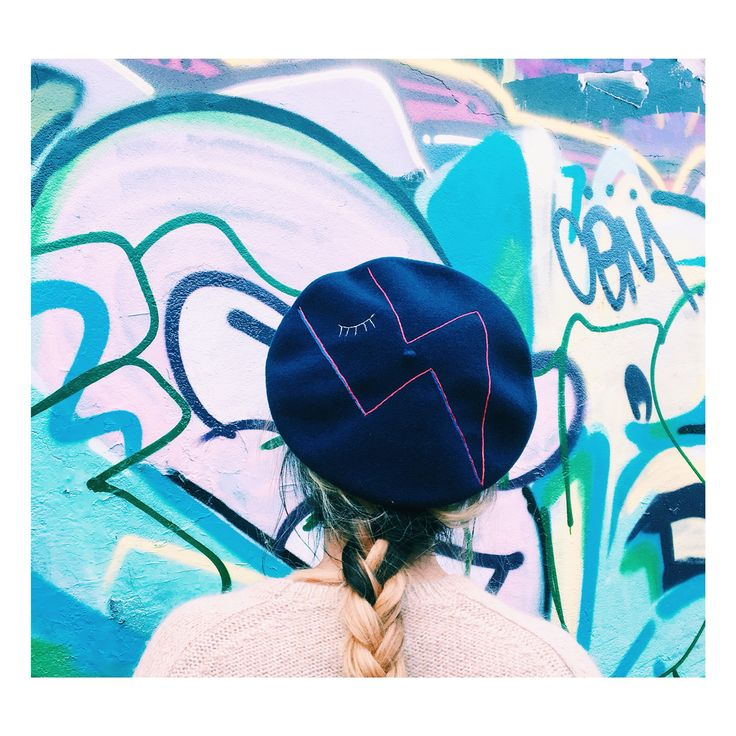 Cecile Millinery , hand embroidered beret , hommage to David Bowie