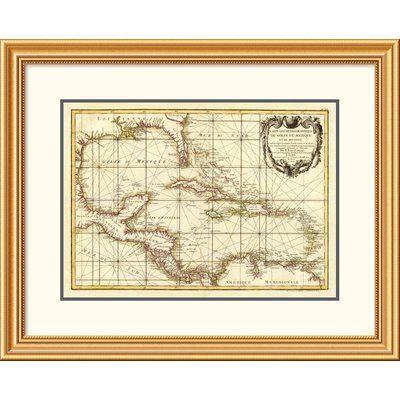 "East Urban Home 'Golfe du Mexique, 1762' Framed Print Size: 26"" H x 32"" W x 1.5"" D"