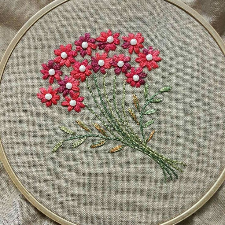 Nakıştan kırmızı Çiçek süsleme