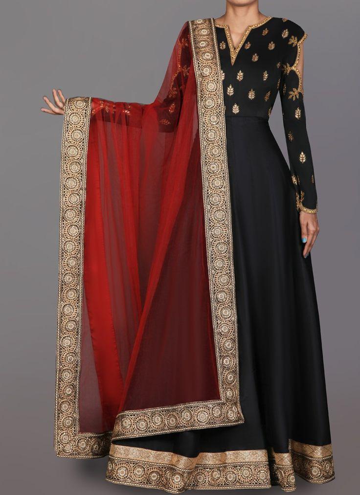Black and Red Embroidered Taffeta Silk Anarkali