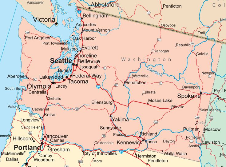 Washington state map | state of washington featuring washington s major cities highways and ...