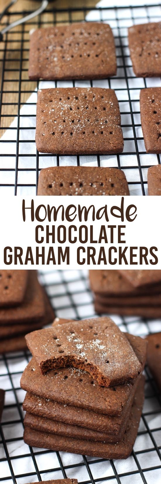 A recipe for homemade chocolate graham crackers - not too sweet with a deep chocolate flavor! Great to eat on their own or in s'mores!