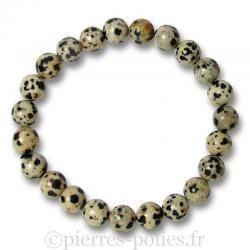 Bracelet boules 8 mm - Jaspe dalmatien - n°1