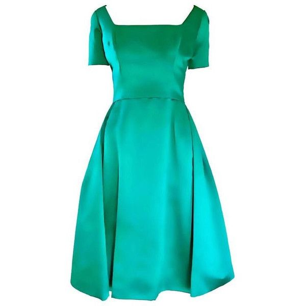 Beautiful 1950s Michael Novarese Kelly Green Silk Satin Fit n' Flare... ❤ liked on Polyvore featuring dresses, christmas cocktail dresses, blue cocktail dresses, flared skirt, couture cocktail dresses and vintage evening dresses