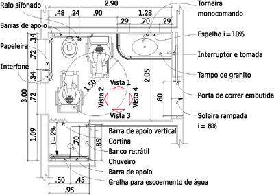 PINIweb.com.br |Banheiros com acessibilidade para pessoas com deficiência física e idosos| Construção Civil, Engenharia Civil, Arquitetura