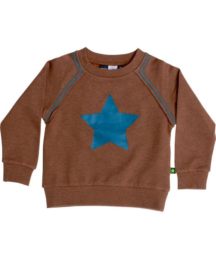Molo hippe bruine trui met petrol blauwe ster. molo.nl.emilea.be