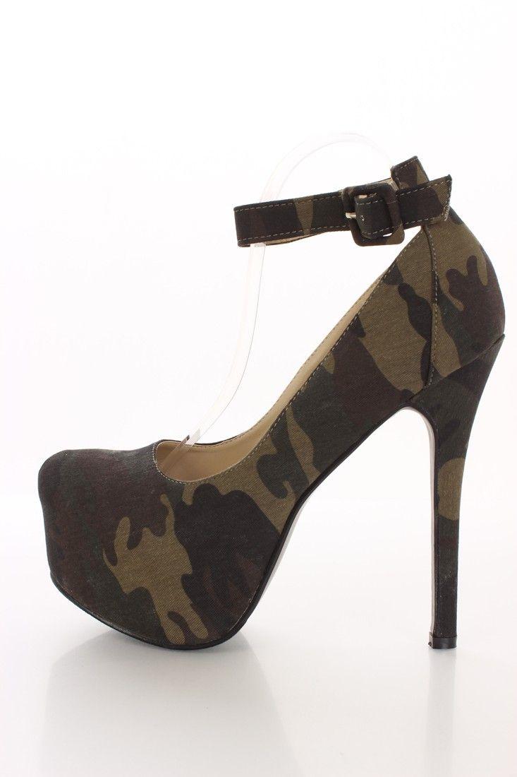 Camouflage Printed Canvas Platform Heels