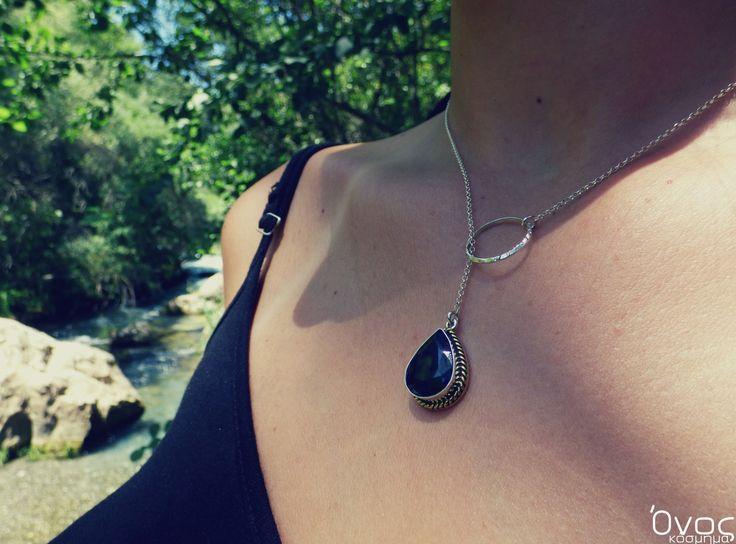 """ Blue Sapphire "" - Χειροποίητο μενταγιόν από ασήμι 925 και Ζαφείρι!"
