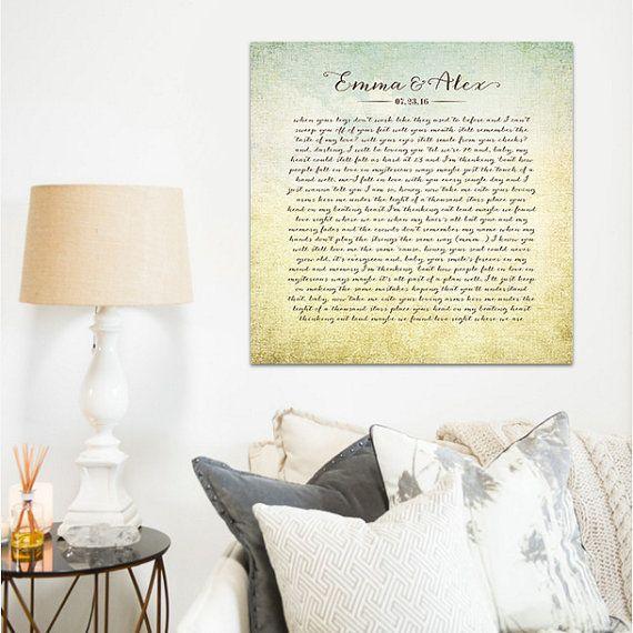 Song lyric art song lyrics wall art wedding song by laurenmaryHOME