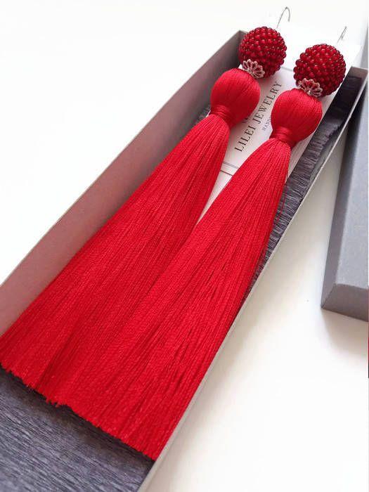 amaysing Ruby red long tassel handmade earrings !