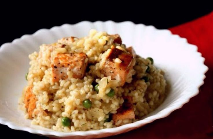 Risotto with salmon