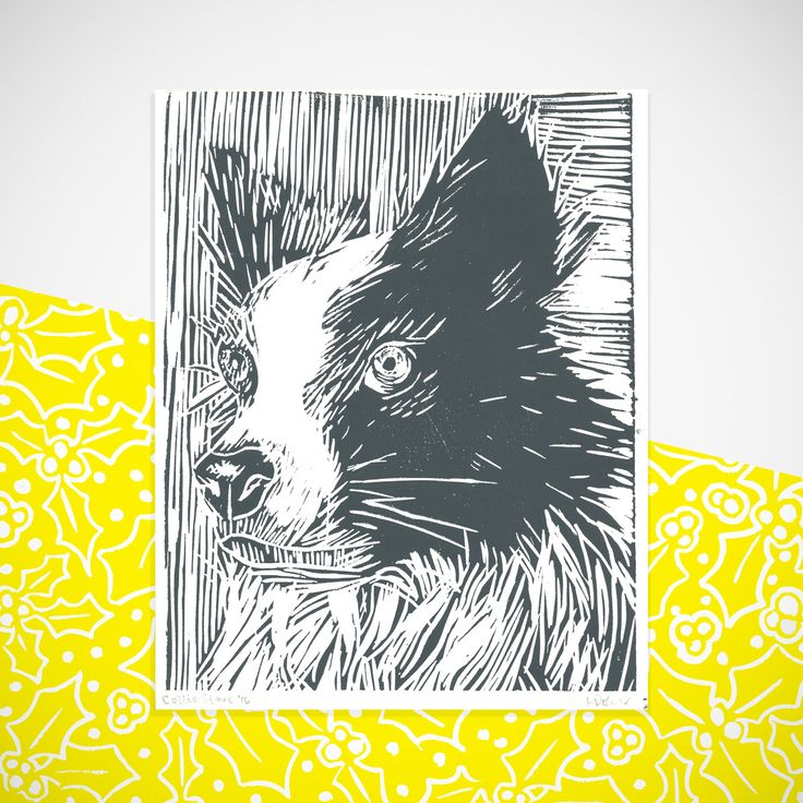 Collie full lino print by HollyBowerMakes on Etsy