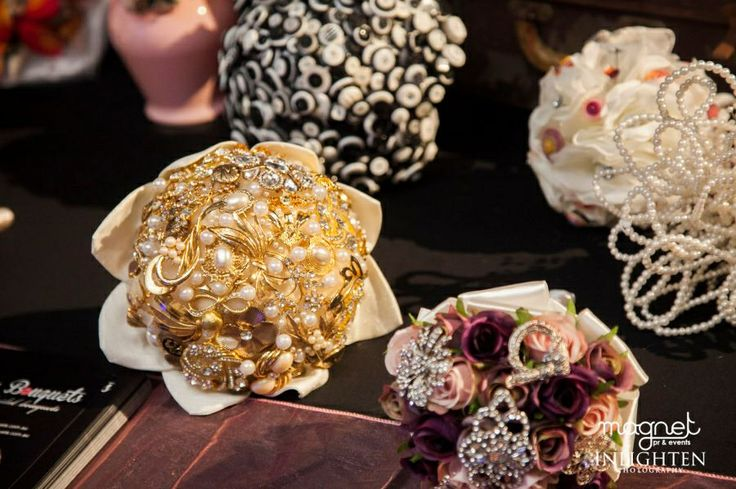 Gold and ivory brooch bouquet by Nan's Button Box Bouquets www.nansbuttonboxbouquets.com.au