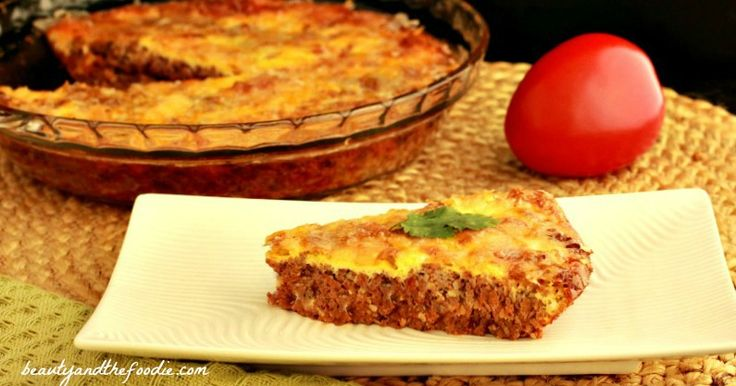 Easy Paleo Hamburger Pie, Crust Free and Low Carb.  Only 2.2 Net Carbs!  I'm going to have to make this for my father!