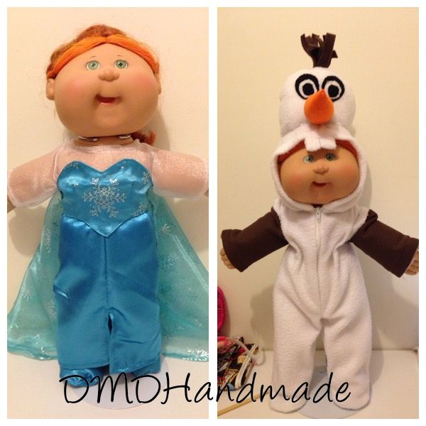 Bit of fun for Cabbage Patch Kids.. Elsa and Olaf costumes, handmade by me