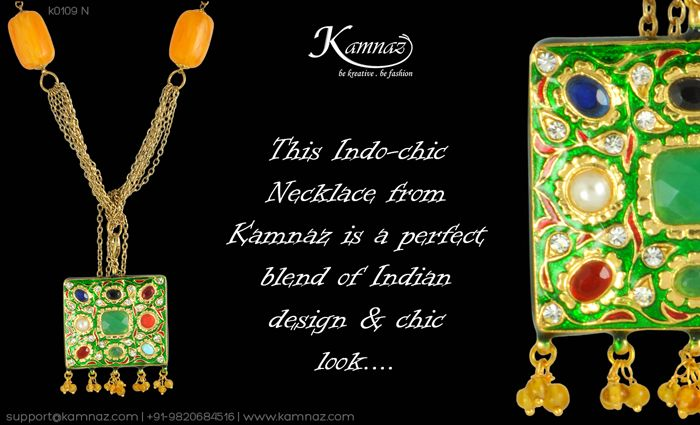 This Indo-chic #Necklace from #Kamnaz is a perfect blend of Indian design & chic look....  for prices contact support@kamnaz.com | +91-9820684516 #necklace #chicnecklace #handmadejewellery #indochicjewellery #designerjewellery #fashionjewellery #jewelry #mumbai
