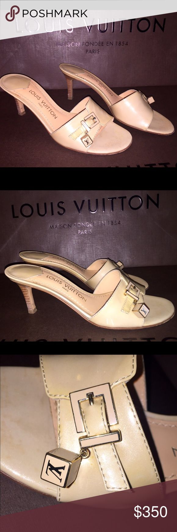 Louis Vuitton Dice mule Heels Authentic Louis Vuitton dice mule. In size 37.5. In beige vernis patent leather. Comes with LV  box, extra heel tips, Worn 2 times Louis Vuitton Shoes Heels