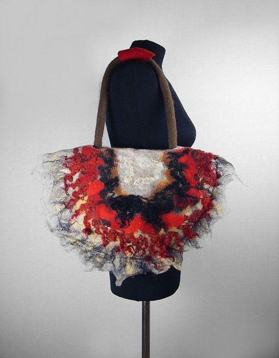 Designer Bag Felted Bag Felt Handbag Grey Purse wild Felt Nunofelt Nuno felt gray grey shoulder bag Fiber Art boho