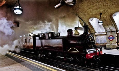 A steam train arrives at Baker Street station as London Underground prepares to mark 150 years of the tube. Photo by Sarah Lee
