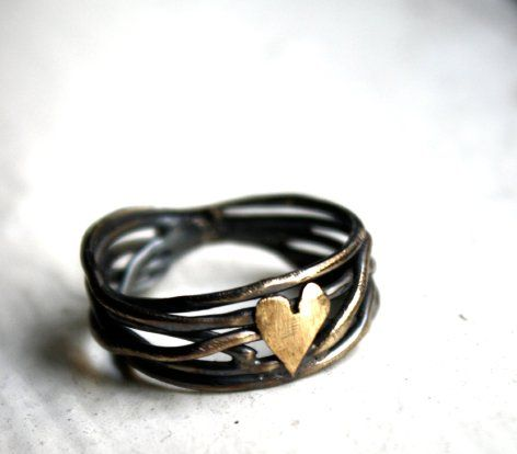 Black Gold heart ring