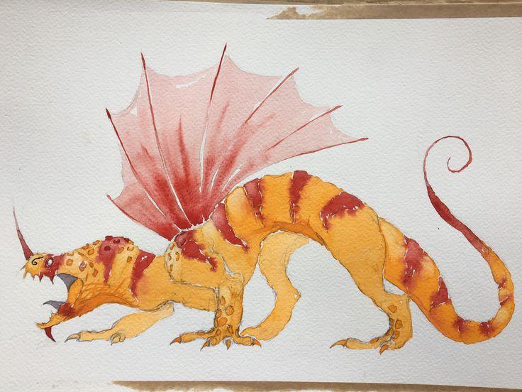 Orange Dragon. Watercolor
