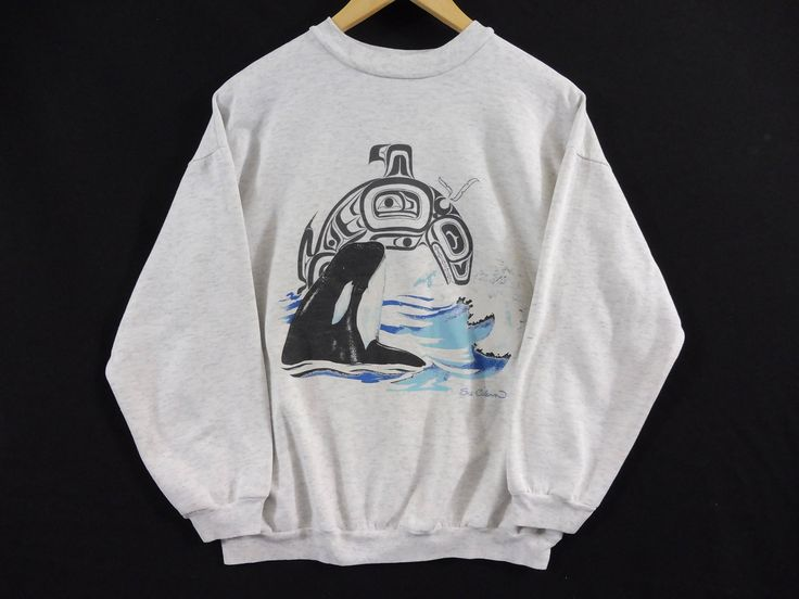 Vintage Killer Whale Native American Crewneck Sweatshirt - Small Mens - Medium Womens - Coast Salish Art - Vintage Clothing - 90s Clothing - by BLACKMAGIKA on Etsy
