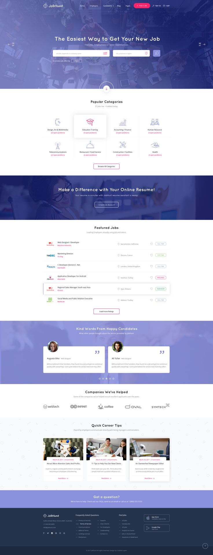 indeed resume upload%0A Jobhunt  The Most Popular Job Board PSD Template