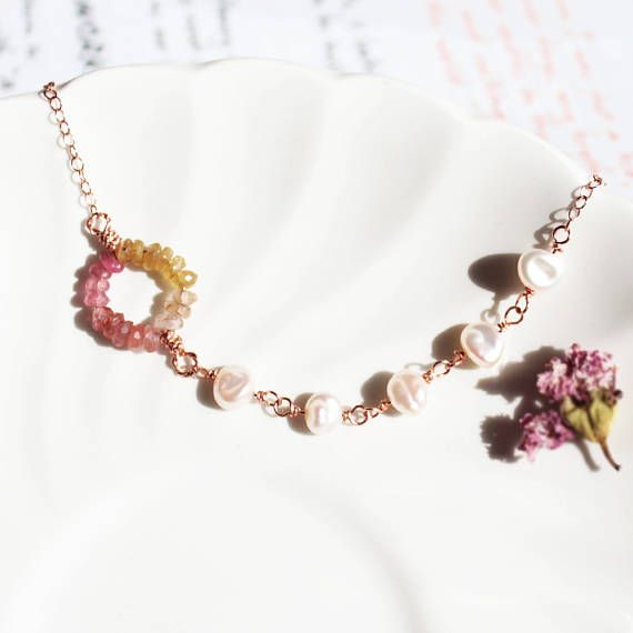 Pink and Yellow Tourmaline Necklace in Rose Gold Ombre Circle